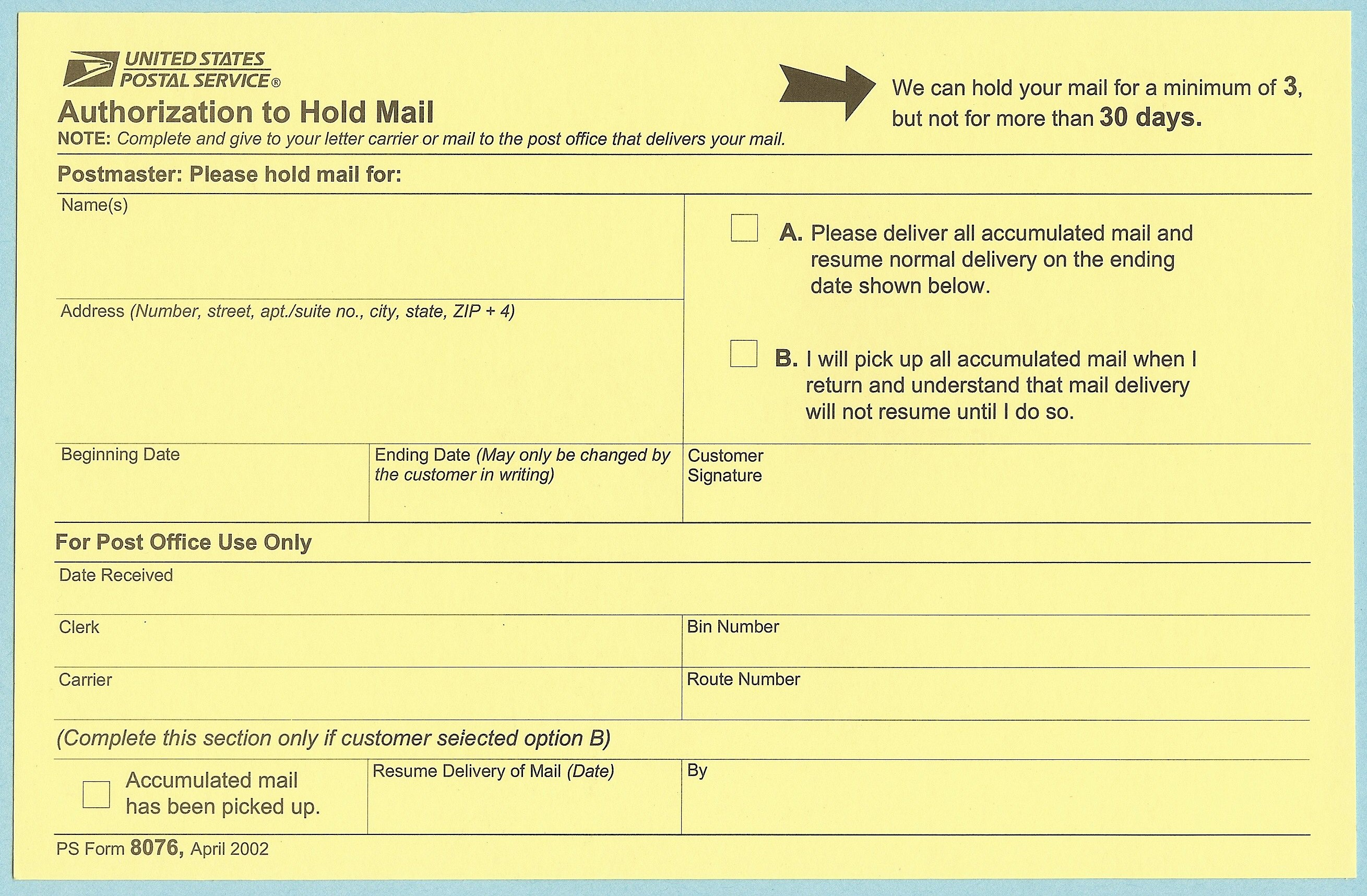 usps hold mail form