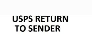 usps return to sender